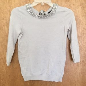 Ann Taylor light grey sweater w/ pearl collar, SP